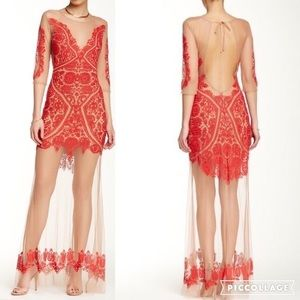 Like new for love&lemons maxi lace dress nude red